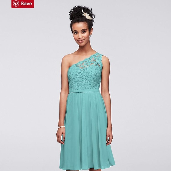 David\'s Bridal Dresses | Short One Shoulder Corded Lace Dress | Poshmark